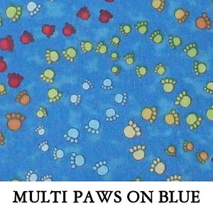 Multi Paws on Blue..THREE XS**TWO M**TWO XL