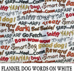 Flannel Dog Words on White..ONE S
