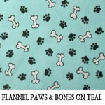 Flannel Paws & Bones on Teal