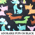Reversible Adorable Pups on Black..ONE S