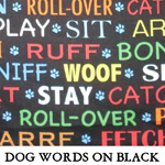 Dog Words on Black