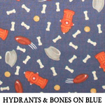 Hydrants & Bones on Blue