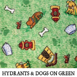 Hydrants & Dogs on Green