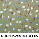 Multi Paws on Green..ONE Extra Large