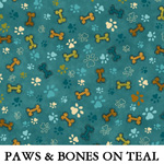 Paws & Bones on Teal