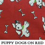 Puppy Dogs on Red