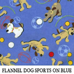 Flannel Dog Sports on Blue