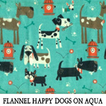 Flannel Happy Dogs on Aqua