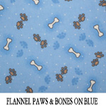 Flannel Paws & Bones on Blue