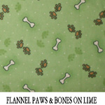 Flannel Paws & Bones on Lime