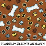 Flannel Paws Bones on Brown