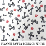 Flannel Paws & Bones on White