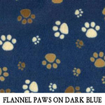 Flannel Paws on Dark Blue