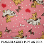 Flannel Sweet Pups on Pink